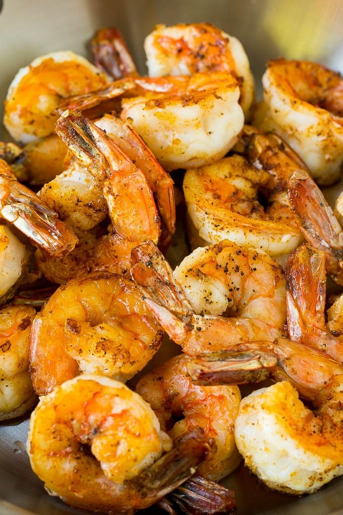 A pan of seared Mexican style shrimp.