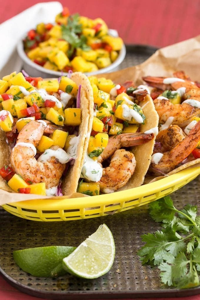 Corn tortillas filed with shrimp, creamy lime sauce and mango salsa.