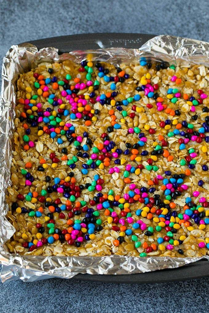 A square pan filled with a peanut butter and cereal mixture.