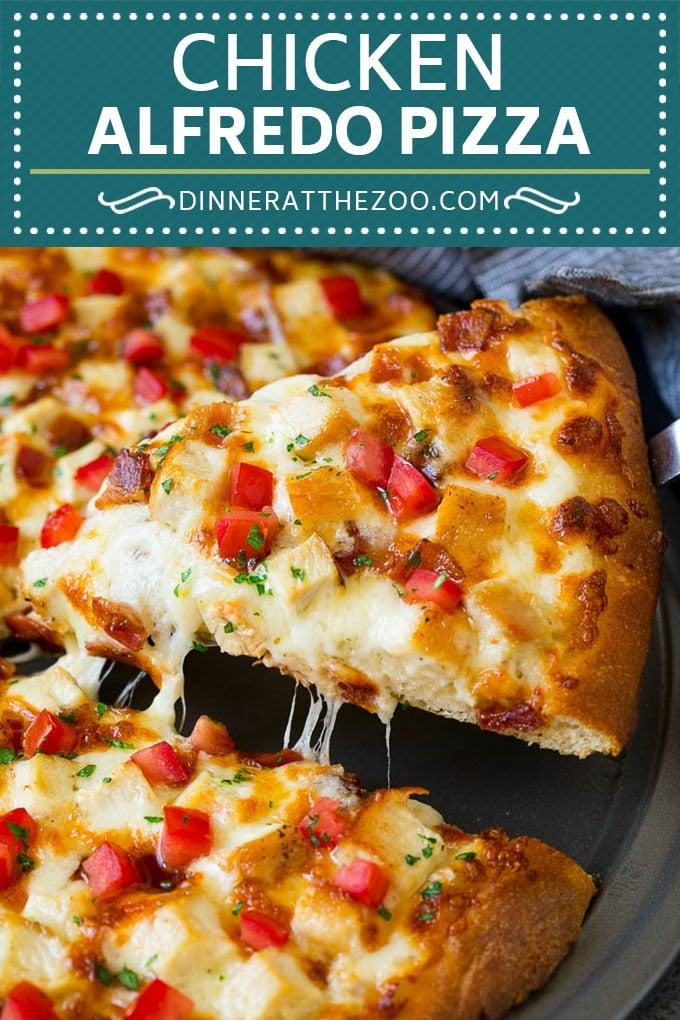 Chicken Alfredo Pizza Recipe #pizza #chicken #bacon #dinner #dinneratthezoo