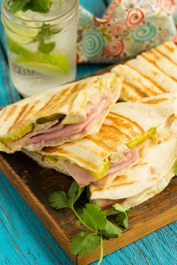 cuban sandwich in quesadilla form with roasted pork, smoked ham ...
