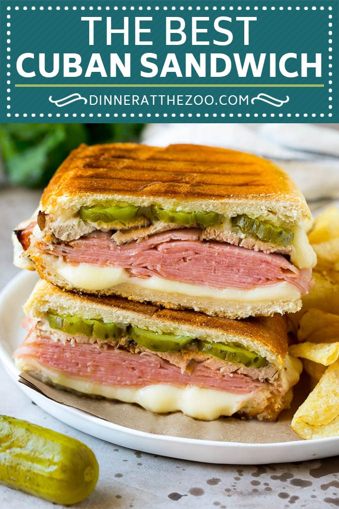 Cuban Sandwich Recipe #sandwich #pork #ham #cheese #pickles #lunch #dinner #dinneratthezoo