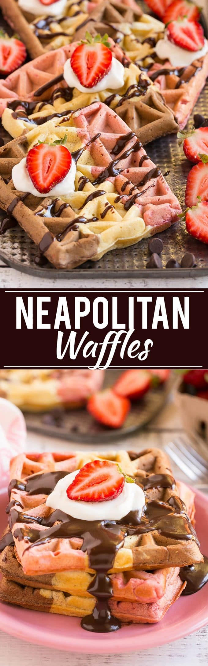 Neapolitan Waffles Recipe | Chocolate Strawberry Vanilla Waffles | Easy Neapolitan Waffles | Best Neapolitan Waffles