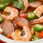 This one pot chicken and shrimp gumbo is a healthy and easy meal that's ready in just 30 minutes!