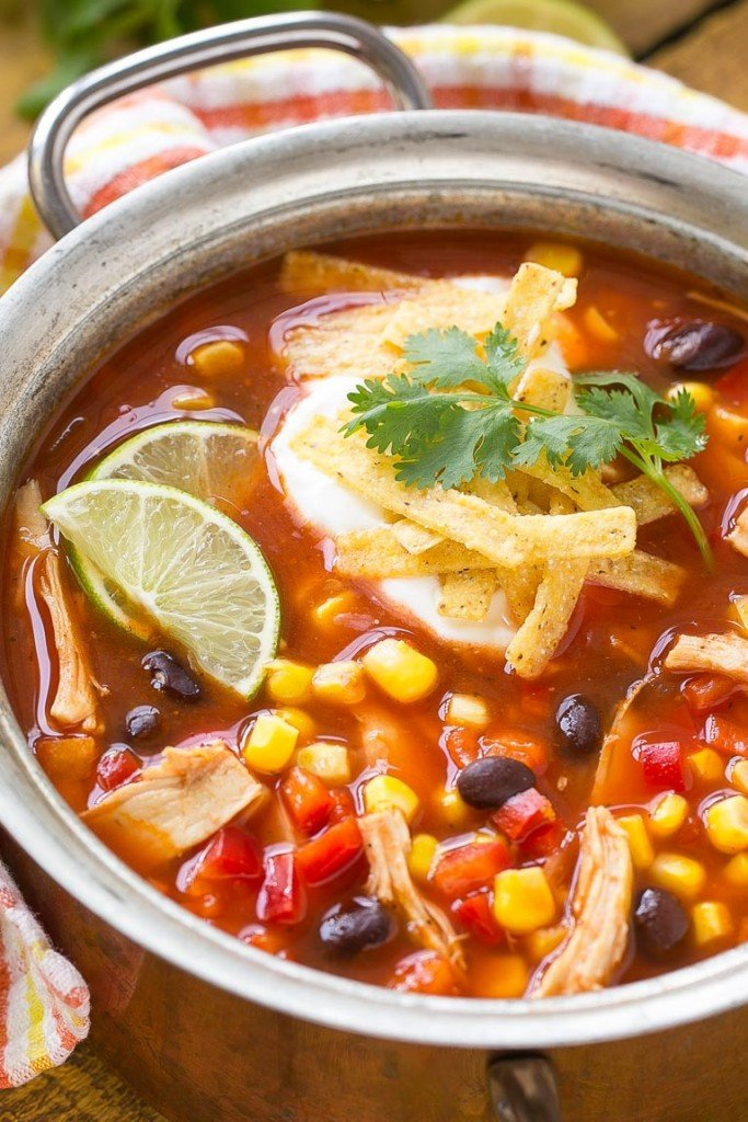 A quick and easy chicken taco soup full of beans and vegetables that's ready in just 25 minutes. #StockUpOnDelMonte #Safeway Ad