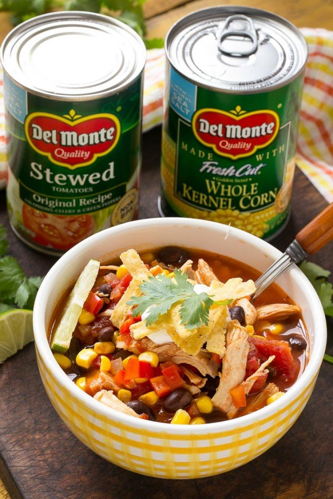 A quick and easy chicken taco soup full of beans and vegetables that's ready in just 25 minutes. Ad