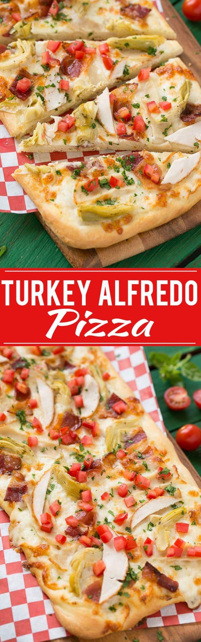 Turkey Alfredo Pizza Recipe | Turkey Artichoke Bacon Pizza | Best Turkey Pizza | Creamy Bacon Pizza | Bacon Alfredo Pizza