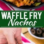 Waffle fries are smothered in nacho toppings for a fun and delicious snack. #FarmtoFlavor Ad