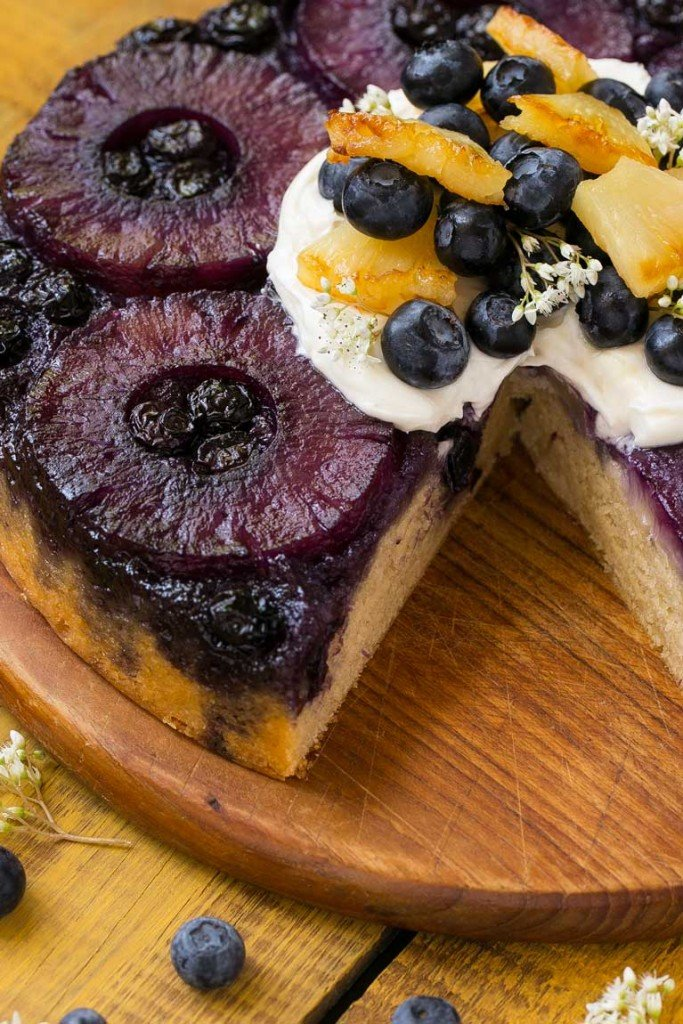A twist on the classic pineapple upside down cake with blueberries instead of maraschino cherries. This version is even better than the original!