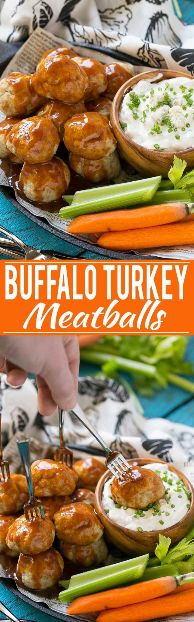 Buffalo Turkey Meatball Recipe | Buffalo Turkey Meatballs | Chipotle Sauce Meatballs | Skinny Blue Cheese Dip | Buffalo Meatballs