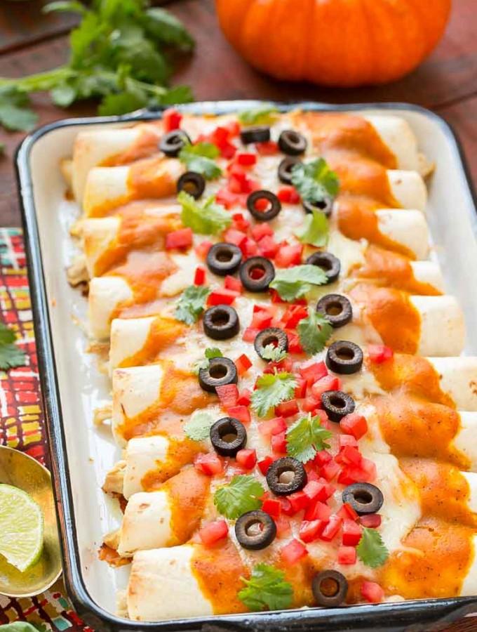Chicken Enchiladas with Pumpkin Sauce