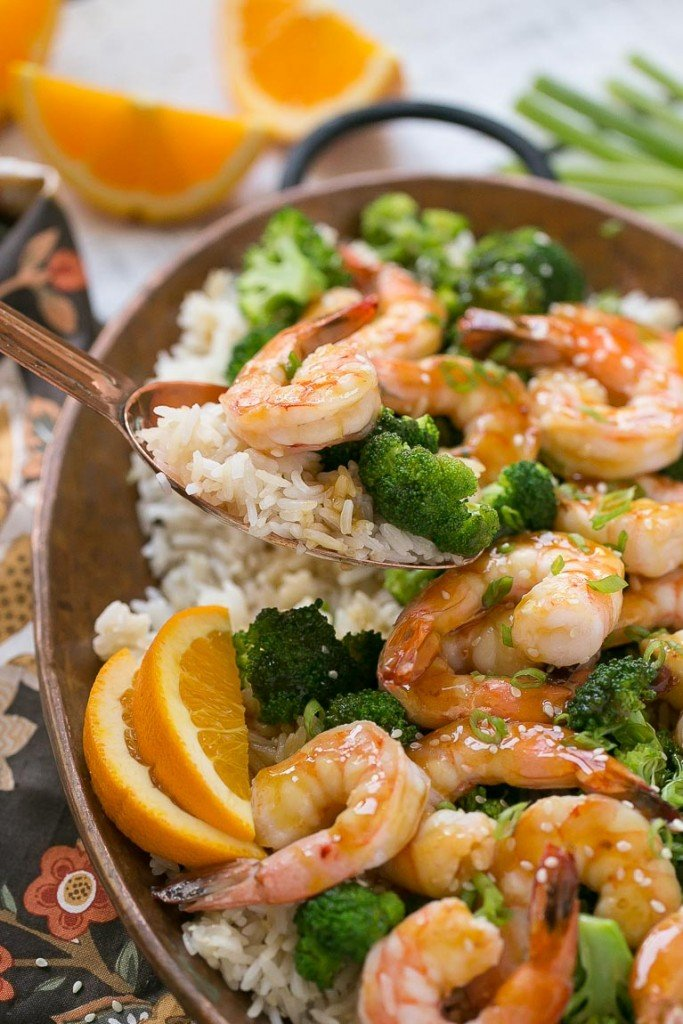 This orange shrimp and broccoli with garlic sesame fried rice is the ...