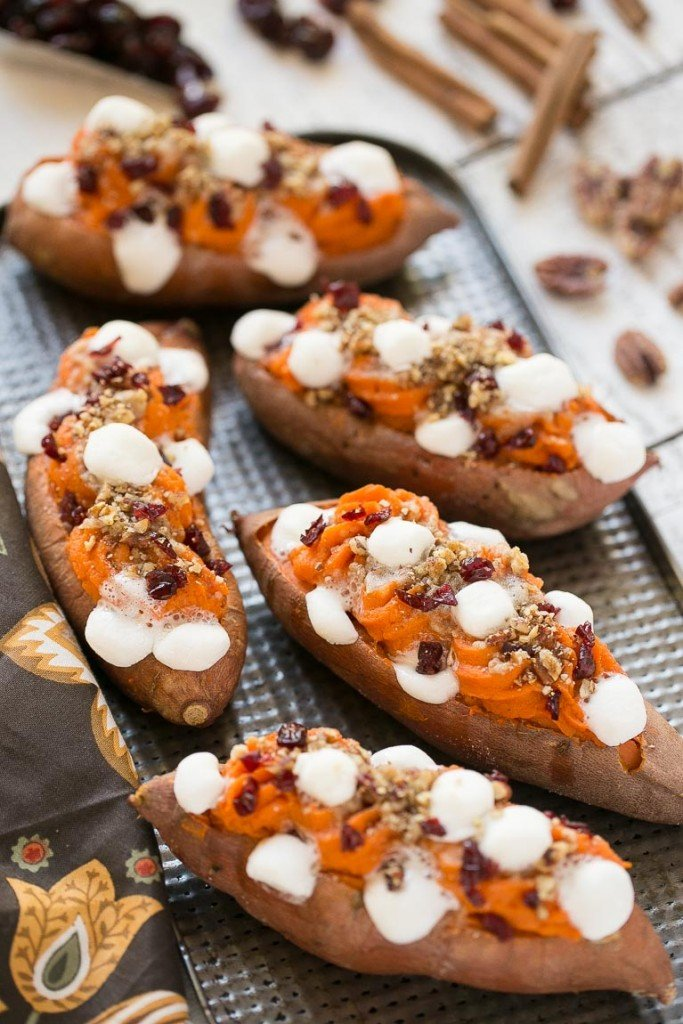 These loaded twice baked sweet potatoes are piled high with pecan ...