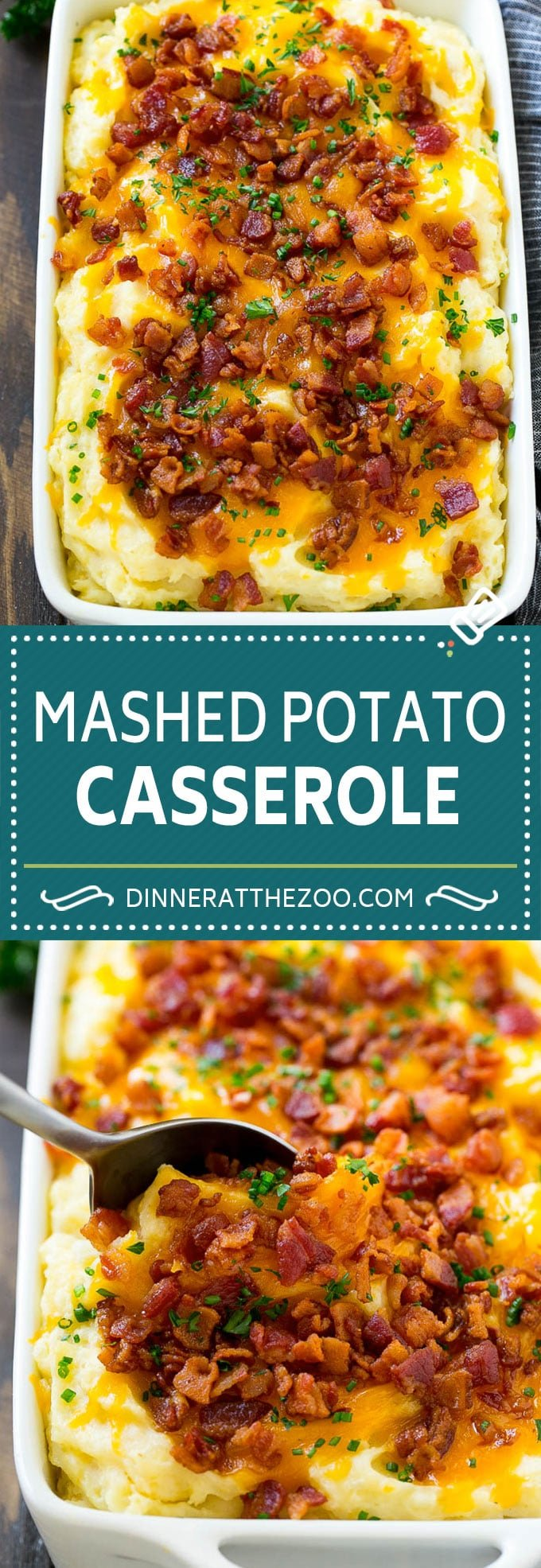 Loaded Mashed Potato Casserole Recipe | Loaded Potatoes | Bacon Mashed Potatoes | Thanksgiving Mashed Potatoes #potatoes #bacon #cheese #casserole #Thanksgiving #dinner #dinneratthezoo