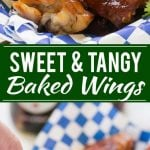 These sweet and tangy baked chicken wings are smothered in a homemade barbecue sauce. They're extra crispy without any frying required!