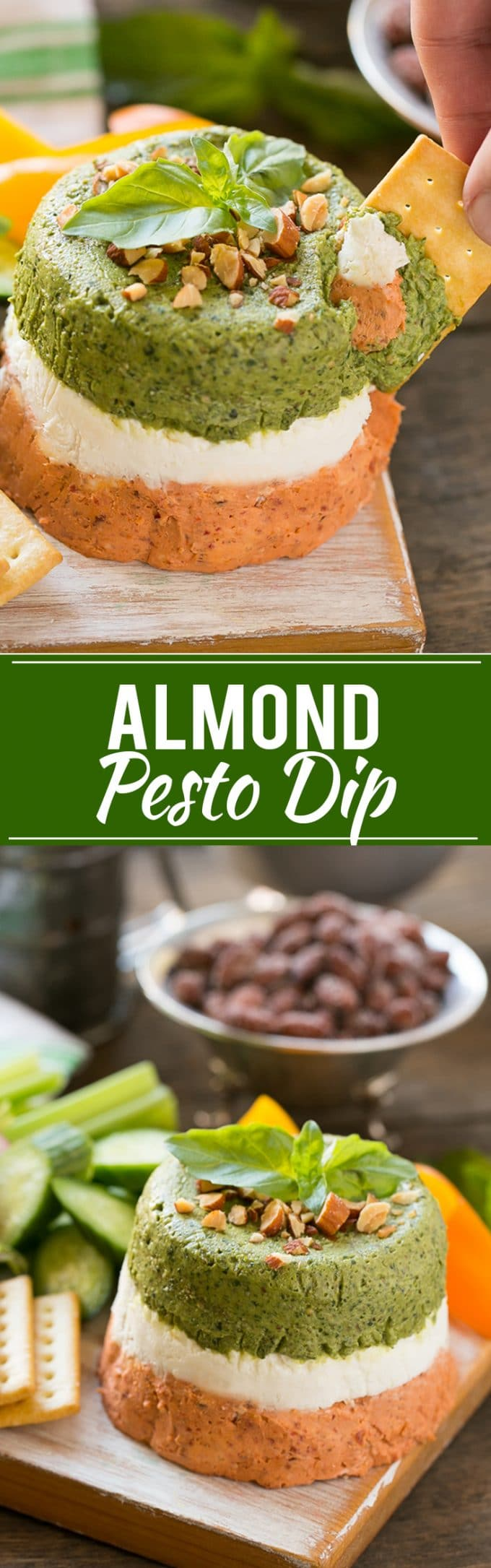 Pesto Dip | Layered Dip #pesto #dip #appetizer #snack #cheese #dinneratthezoo