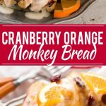 This cranberry orange pull apart monkey bread is balls of soft and tender dough coated in orange sugar and layered with dried cranberries, then baked to a golden brown. It's a lighter alternative to the traditional monkey bread. #BetterWithCraisins Ad