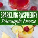 This sparkling raspberry pineapple freeze is a festive and refreshing drink that takes just minutes to put together. #WaterMadeExciting Ad