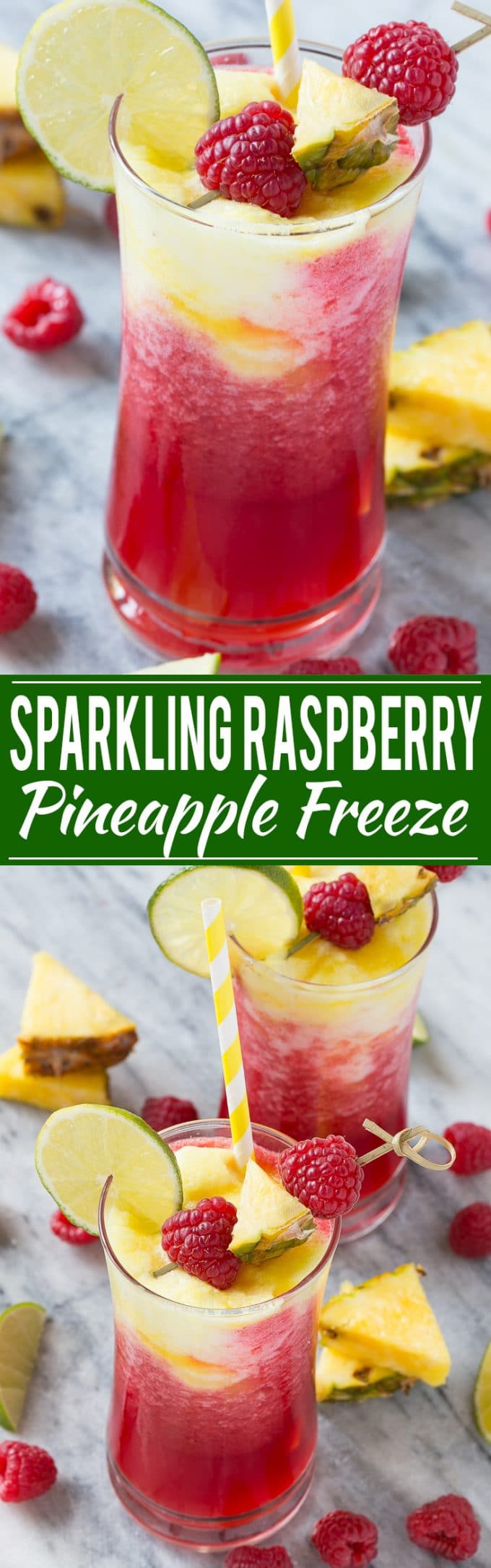 Sparkling Raspberry Pineapple Freeze Recipe | Raspberry Pineapple Freeze | Raspberry Pineapple Smoothie | Fruit Freeze Drink