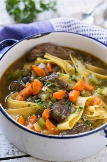 This recipe for beef and egg noodle soup is a hearty meal full of braised tender beef, vegetables and plenty of egg noodles. It's the perfect way to warm up on a cold day!