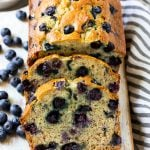 A loaf of sliced blueberry banana bread.