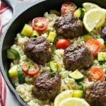 One Pot Greek Meatballs with Lemon Dill Rice