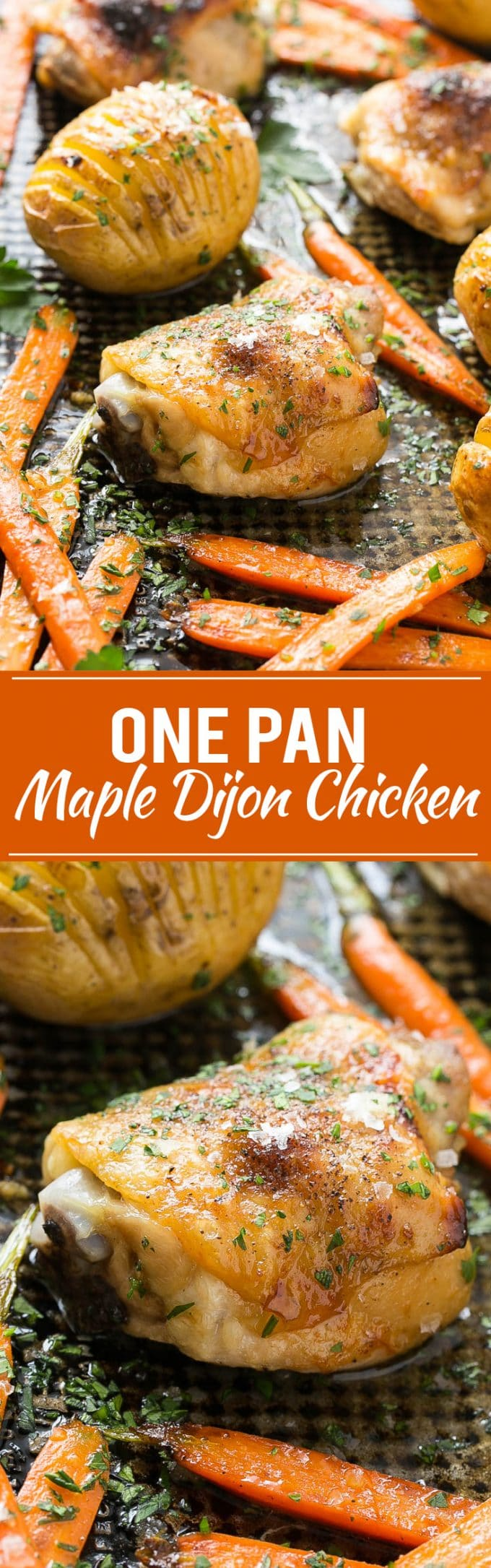 Maple Dijon Chicken with Hasselback Potatoes and Carrots Recipe | Maple Dijon Chicken | Hasselback Potatoes | Best Maple Dijon Chicken | One Pan Meal | One Pan Maple Mustard Chicken | One Pan Maple Dijon Chicken