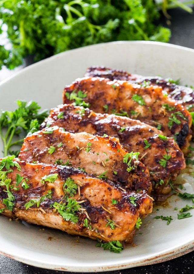 Mustard, balsamic and rosemary pork chops.