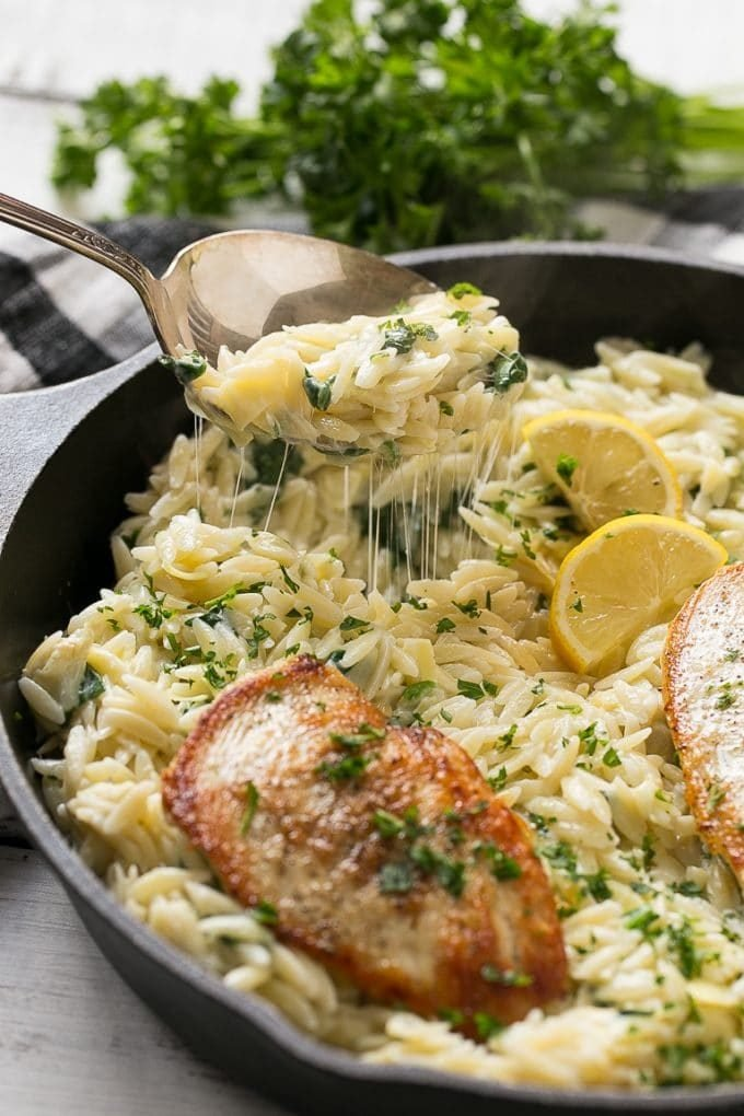 Chicken with Spinach Artichoke Pasta