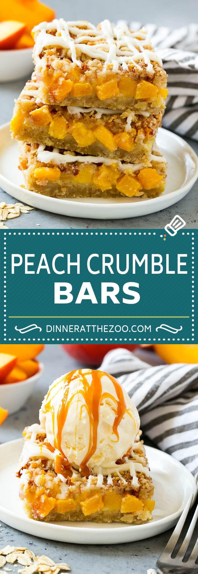 Peach Crumble Bars | Peach Bars | Peach Dessert #peaches #dessert #sweets #baking #dinneratthezoo