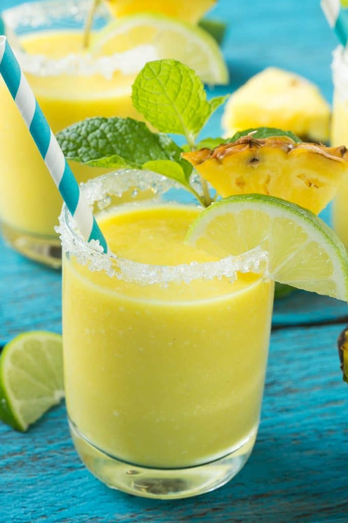 This pineapple coconut smoothie recipe is a tropical fruit delight that's both healthy and refreshing. #ad