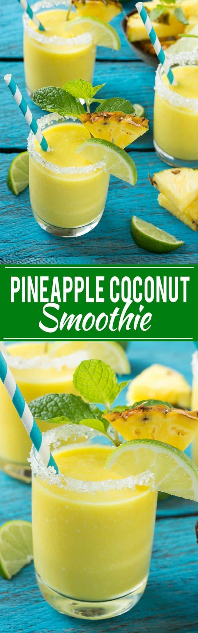 Pineapple Coconut Smoothie Recipe | Pineapple Coconut Smoothie | Tropical Smoothie | Easy Tropical Smoothie | Best Tropical Smoothie | Pina Colada Smoothie | Best Pina Colada Smoothie | Easy Pina Colada Smoothie