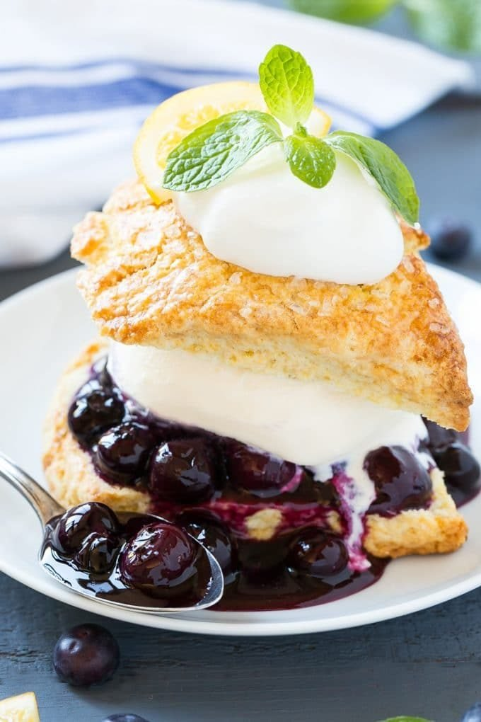 Blueberry shortcake with homemade biscuits, blueberry sauce and ice cream.
