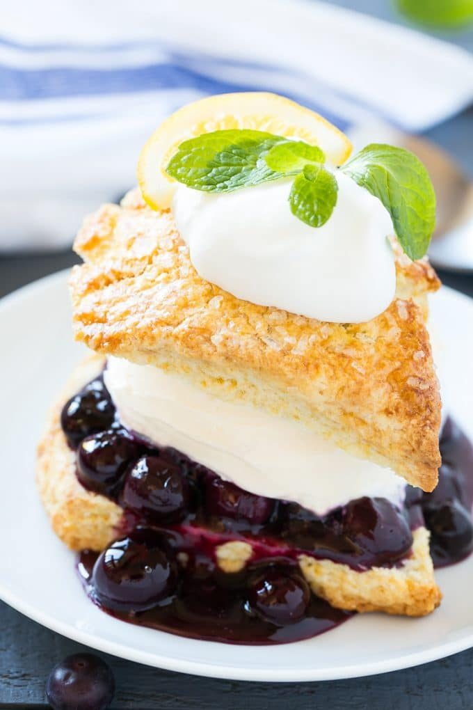 A blueberry shortcake with homemade blueberry sauce and vanilla ice cream.