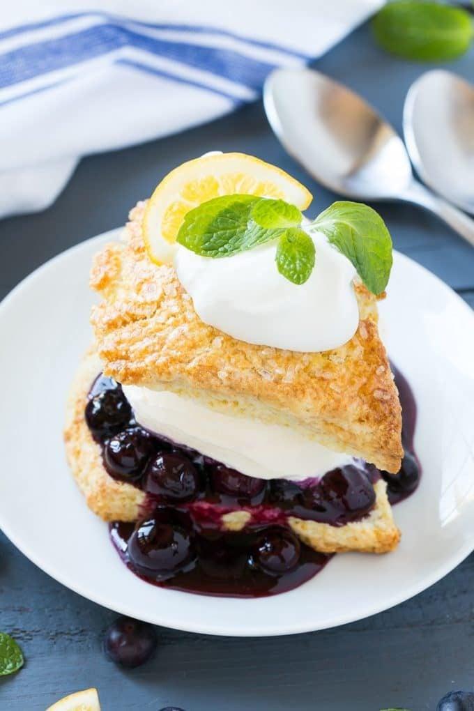Layers of shortcake, blueberry sauce, vanilla ice cream and whipped cream.