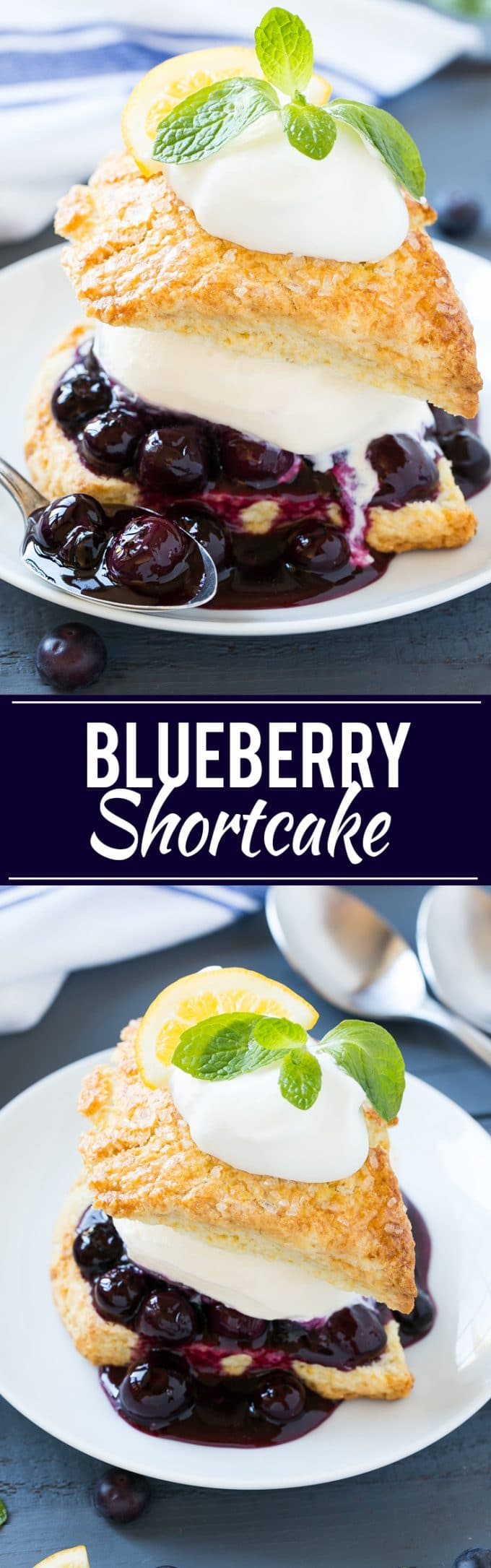 This recipe for blueberry shortcake is vanilla ice cream and homemade blueberry sauce sandwiched between lemon shortcake and finished off with whipped cream. This easy and elegant dessert is perfect for any occasion! #SoHoppinGood ad