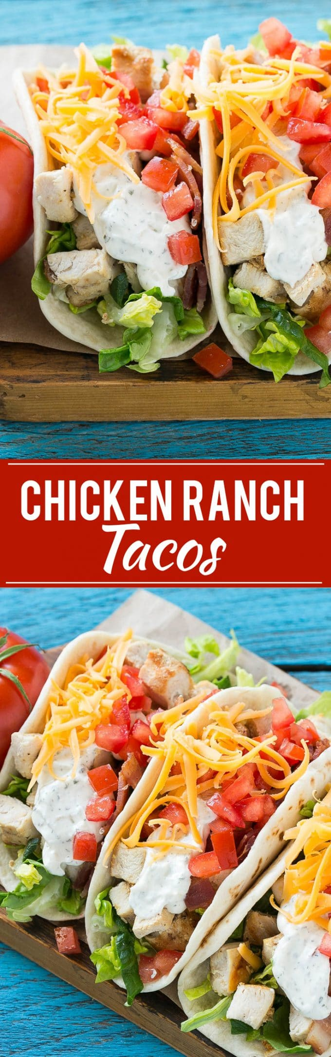 Chicken Ranch Tacos Recipe | Best Chicken Tacos | Chicken Club Tacos | Chicken Bacon Ranch Tacos