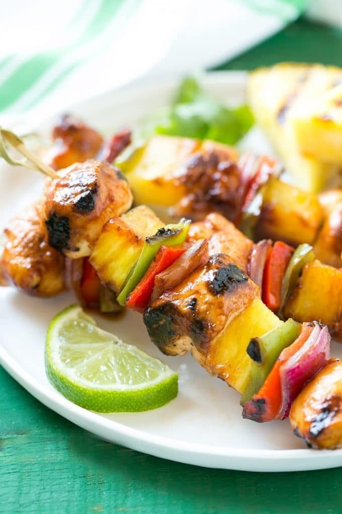 Hawaiian chicken kabobs with pineapple, peppers and onions.