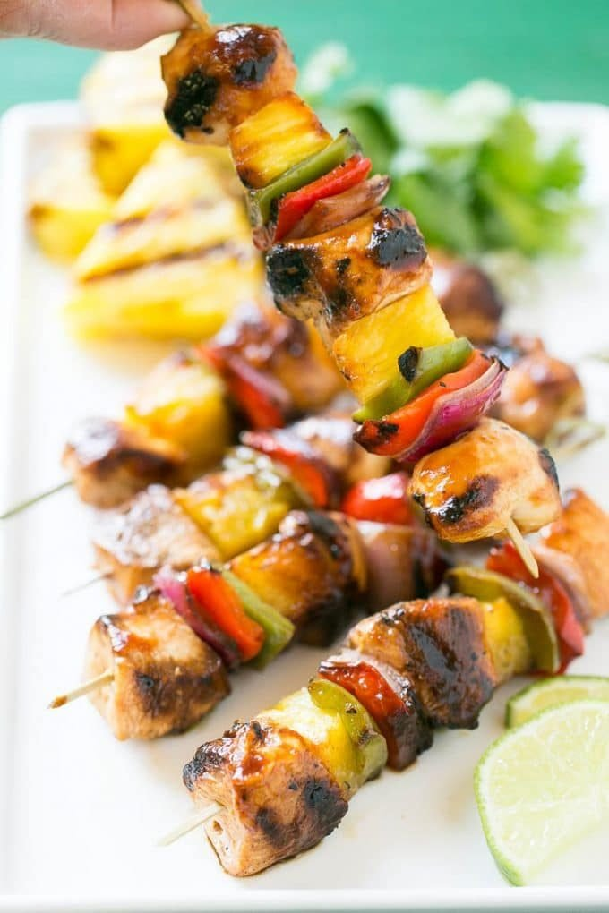 Hawaiian chicken skewered with pineapple and bell peppers.