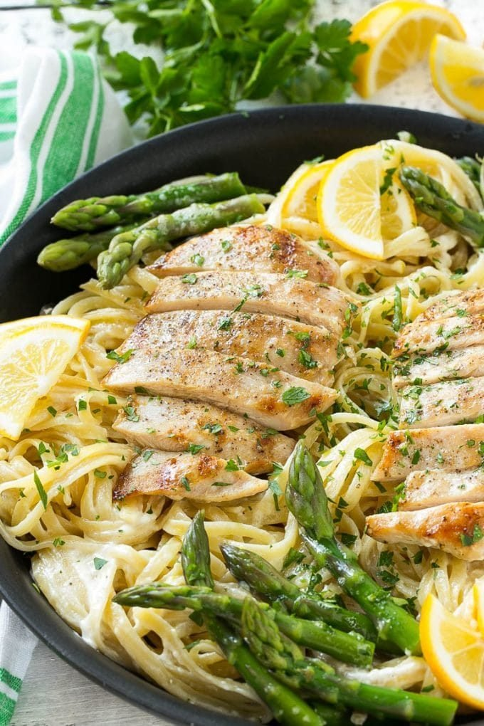 Lemon asparagus pasta in a creamy sauce topped with grilled chicken.