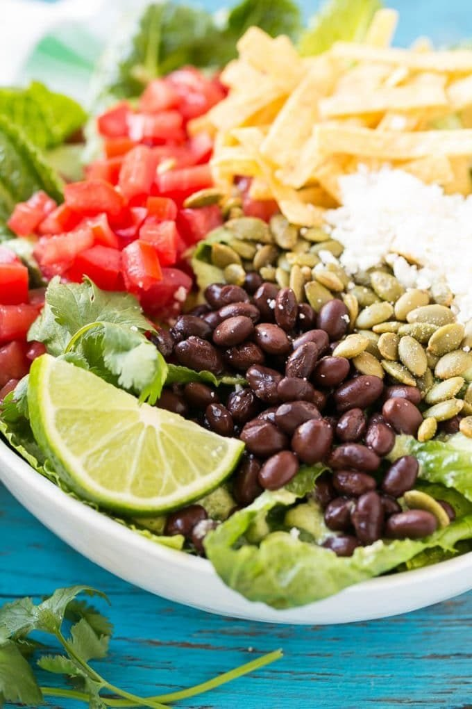 A bowl of romaine lettuce with beans, tomatoes, pepitas and cheese.