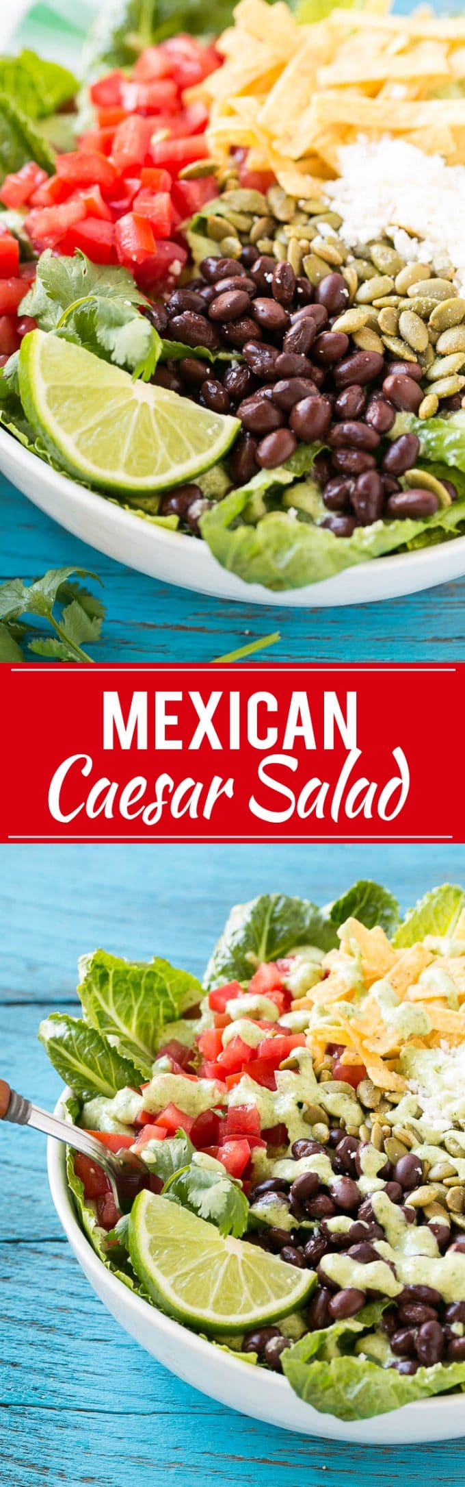 Mexican Caesar Salad Recipe | Best Mexican Caesar Salad | Cilantro Caesar Salad | Caesar Salad With Cilantro Dressing | Easy Mexican Caesar Salad