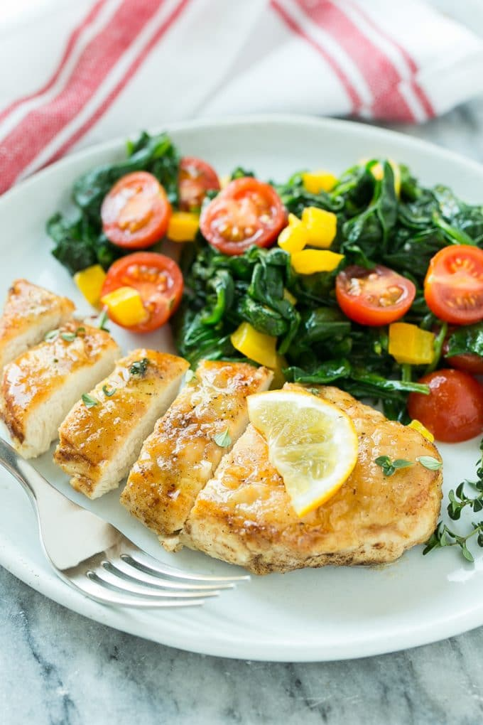 Pan Seared Chicken Breast with Spinach - Dinner at the Zoo