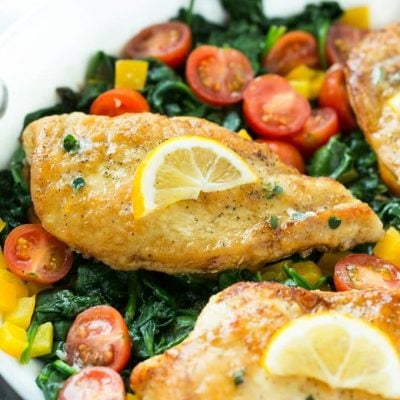 Pan Seared Chicken Breast with Spinach