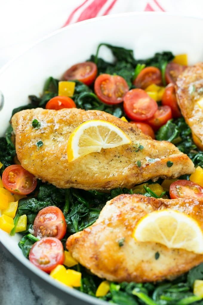 Pan seared chicken breast served with spinach and tomatoes.