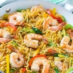 This recipe for shrimp chow mein is a quick and easy one pot meal with plenty of stir fried shrimp and vegetables tossed with noodles and a simple sauce.