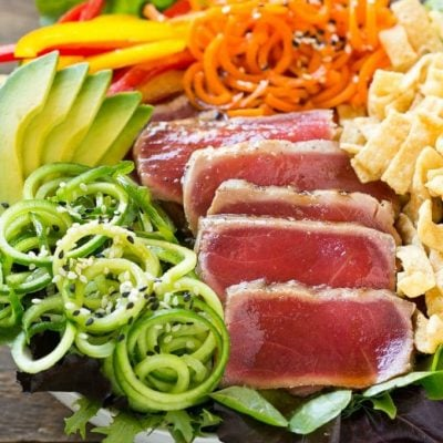 Ahi Tuna Salad with Sesame Ginger Dressing