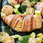 Bacon Wrapped Stuffed Chicken Breast (One Pan Meal)
