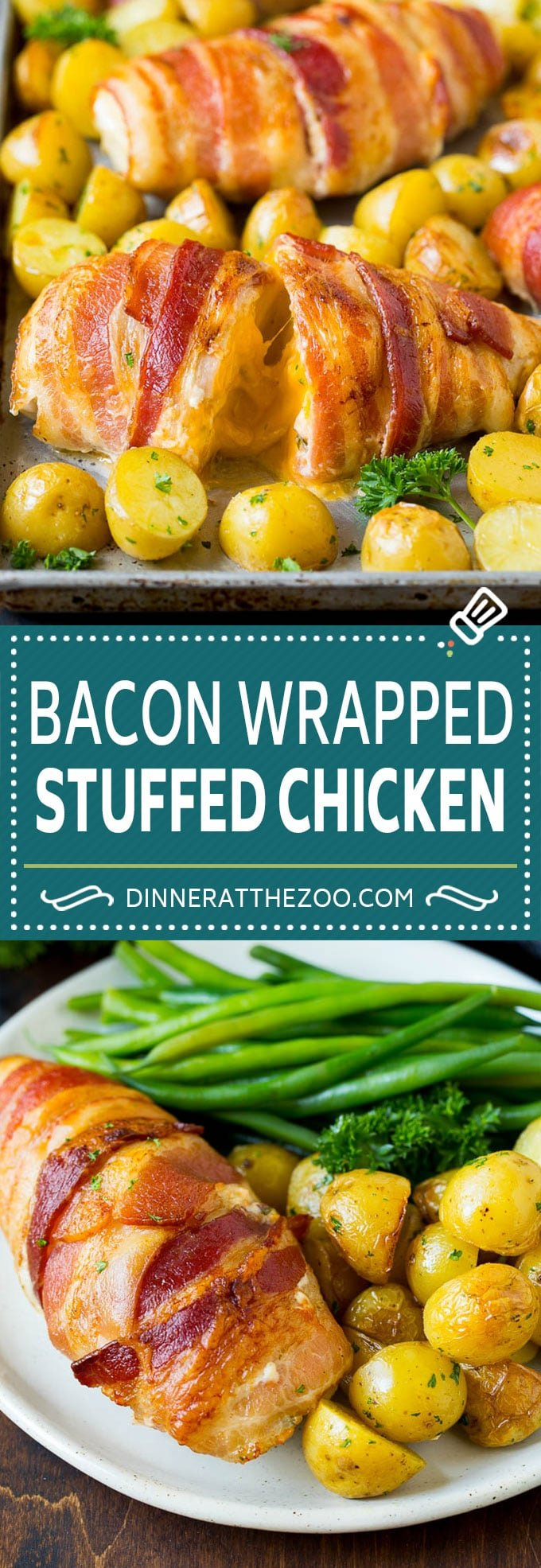 Bacon Wrapped Stuffed Chicken Breast Recipe | Sheet Pan Chicken #chicken #dinner #onepan #bacon #potatoes #dinneratthezoo