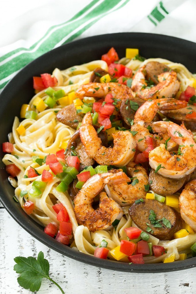 This recipe for Cajun shrimp and sausage pasta is sauteed shrimp and ...
